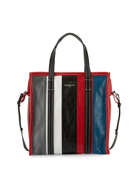 Bazar Shopper Small Striped Leather Shopper Tote Bag, Gray/White/Black/Blue (Gris/Blanc/Noir/Rouge/Bleu)