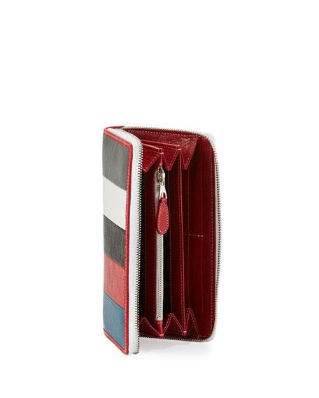 Bazar Zip-Around Continental Wallet, Gray/White/Black/Red/Blue (Gris/Blanc/Noir/Rouge/Bleu)
