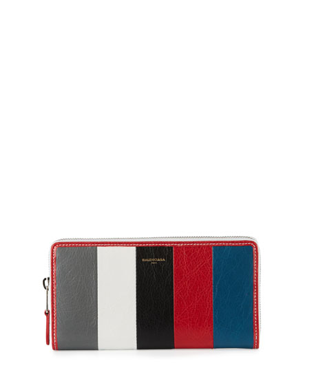 Bazar Zip-Around Continental Wallet, Gray/White/Black/Red/Blue (Gris/Blanc/Noir/Rouge/Bleu)