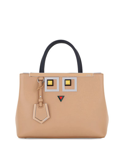 2Jours Petite Faces Leather Tote Bag, Tan