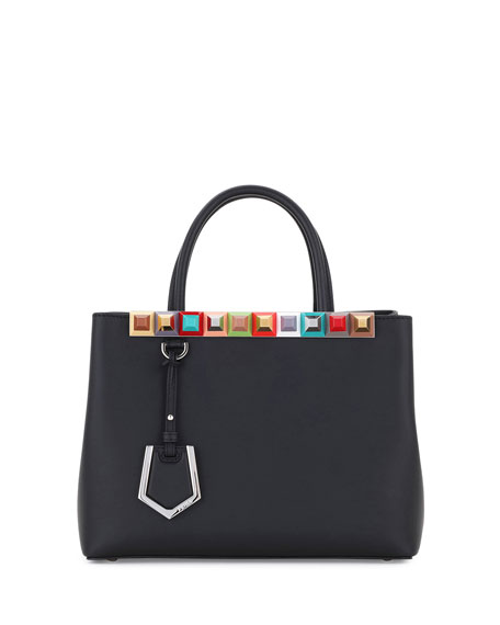 Fendi 2Jours Petite Studded Leather Tote Bag, Black