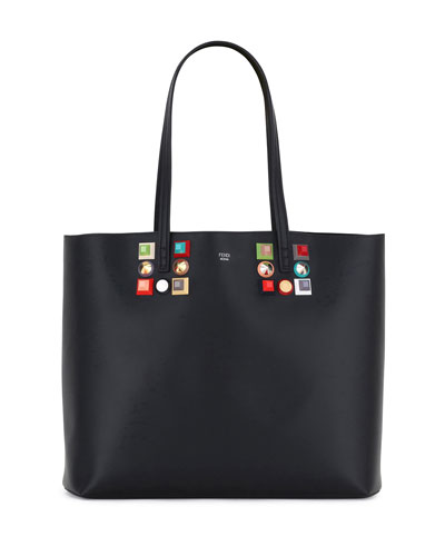 Studded Leather Shopping Tote Bag, Black