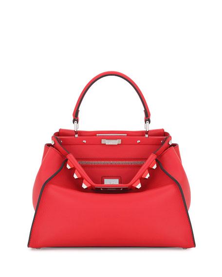 Fendi Peekaboo Medium Studded Leather Satchel Bag, Pink