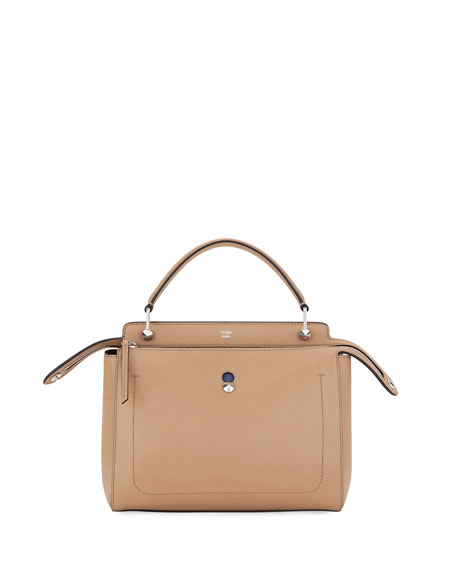 Fendi Dotcom Medium Leather Satchel Bag, Tan/Blue