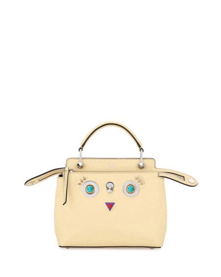 Fendi Faces Dotcom Small Vitello Satchel Bag, Yellow