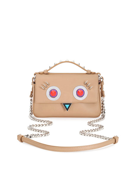Double Baguette Micro Faces Leather Shoulder Bag, Tan
