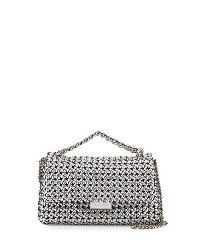 Bex Small Woven Flap Shoulder Bag, Silver