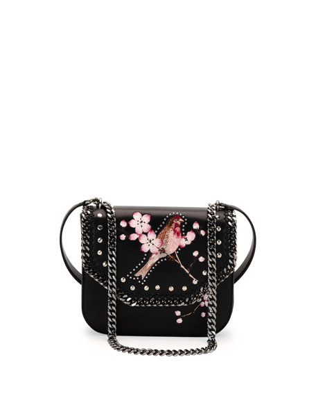 Falabella Box Bird Shoulder Bag, Black