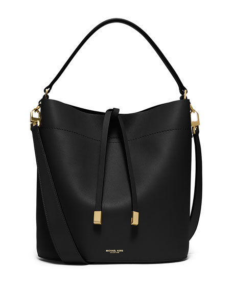 Michael Kors Miranda Medium Leather Shoulder Bag, Black