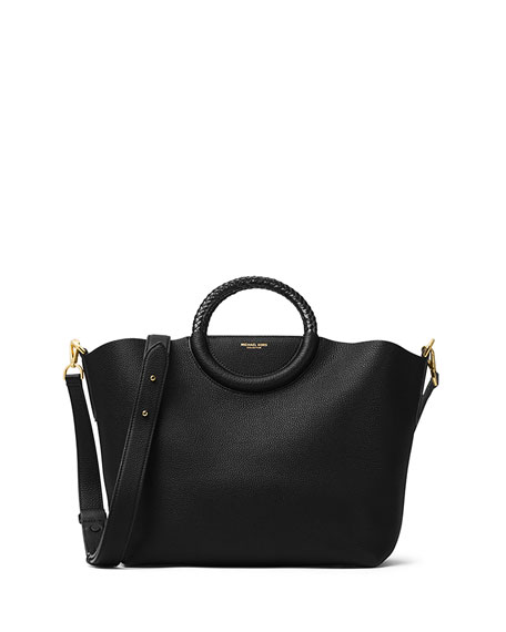 Skorpios Leather Market Bag, Black