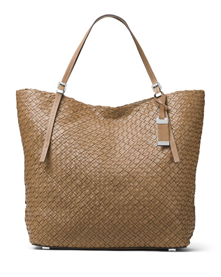 Michael Kors Hutton Large Woven Leather Tote Bag,