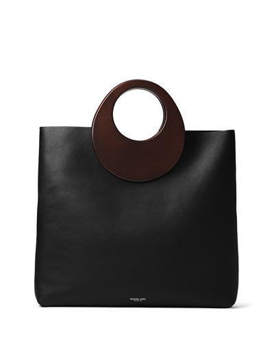 7002890d6f91 Michael Kors Summerset Wooden-Handle Leather Tote, Black