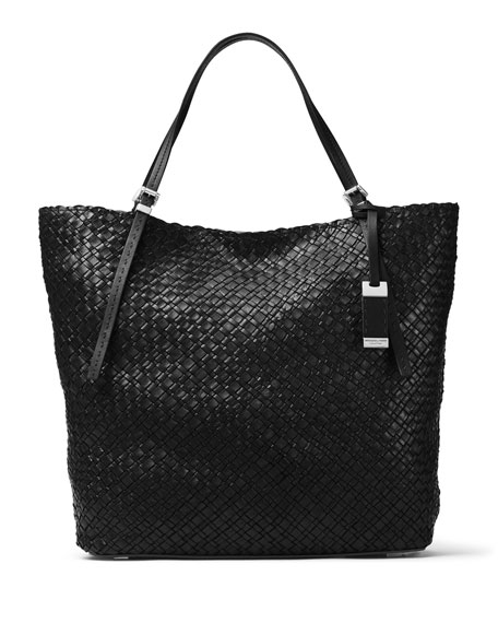 Hutton Large Woven Leather Tote Bag Black