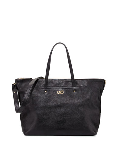 Mika Large Leather Tote Bag, Nero