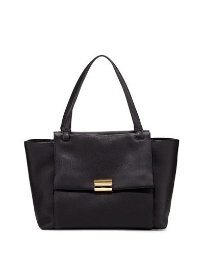 Bitter Large Gancio Leather Tote Bag, Nero