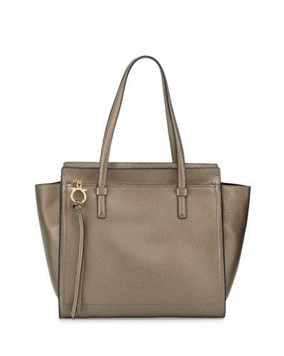 Amy Medium Gancio Leather Tote Bag, Graphite