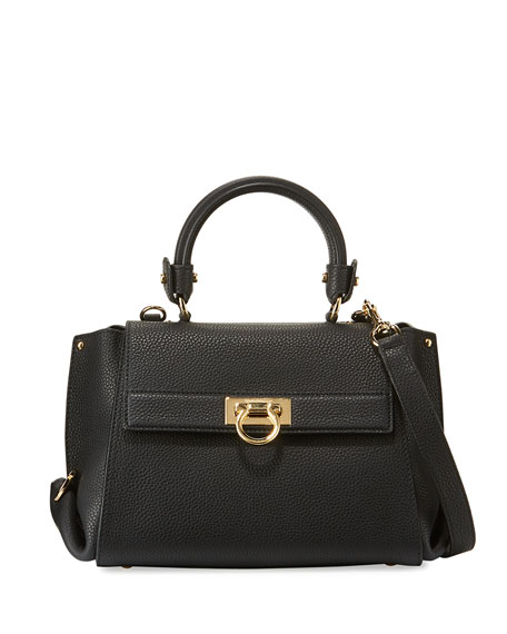 Salvatore Ferragamo Sofia Small Leather Satchel Bag, Nero