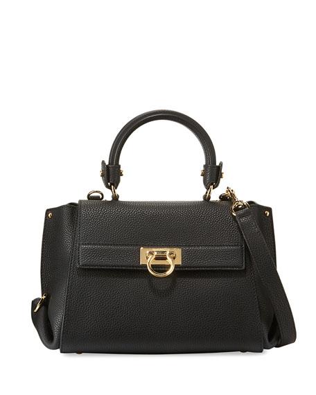 00db9960768 Salvatore Ferragamo Sofia Small Leather Satchel Bag, Nero ...