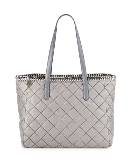 Stella McCartney Falabella East-West Quilted Tote Bag, Light Gray ... : stella mccartney quilted bag - Adamdwight.com