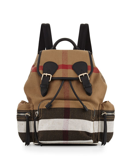 Burberry Medium Check Canvas Backpack, Black