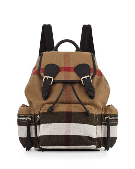 Burberry Medium Check Canvas Backpack, Black