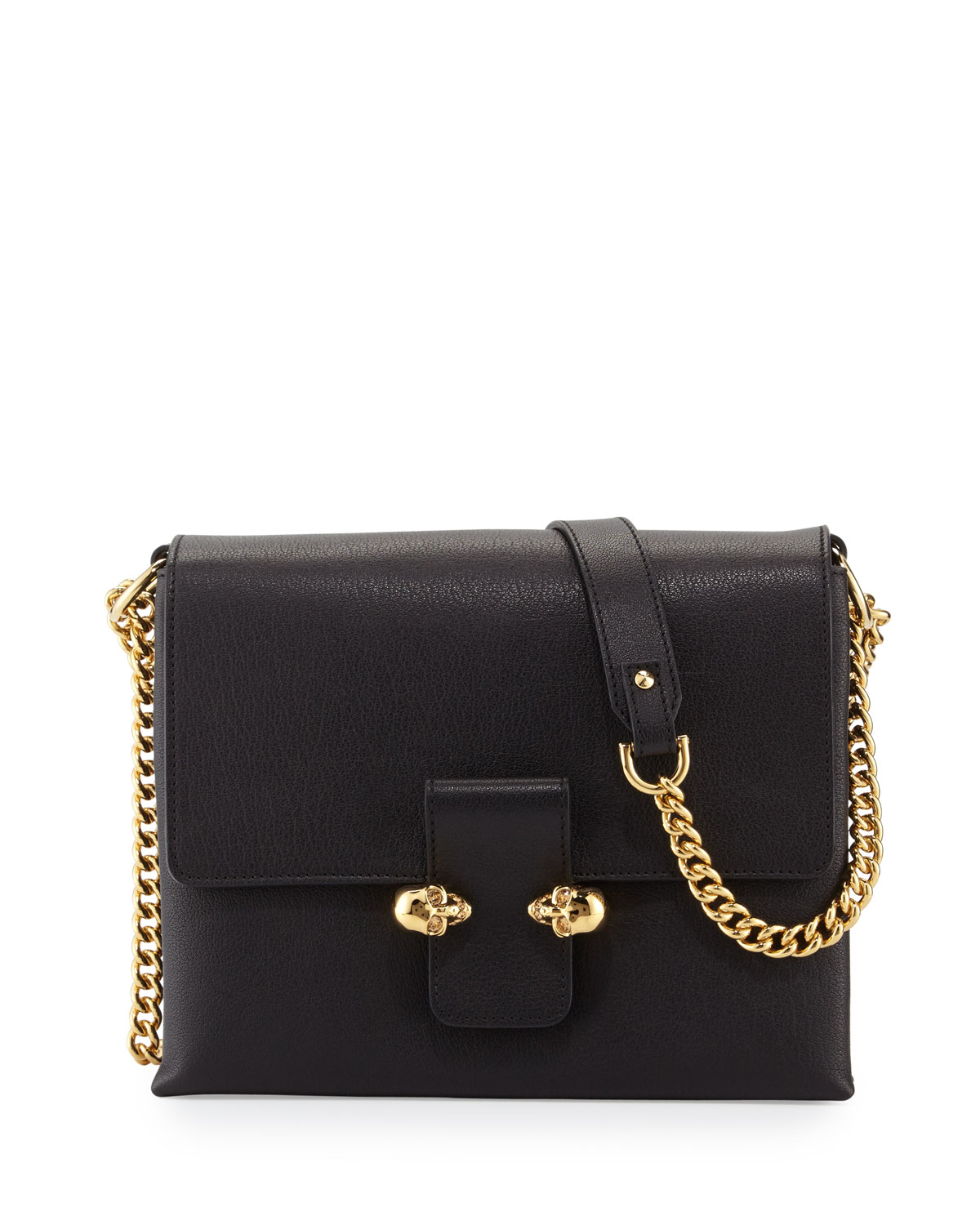 Twin Skull Leather Crossbody Bag Black
