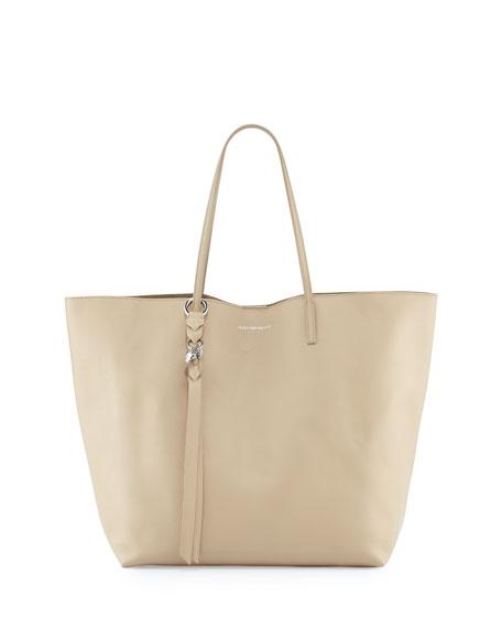 Skull Open Leather Shopper Tote Bag, Light Tan