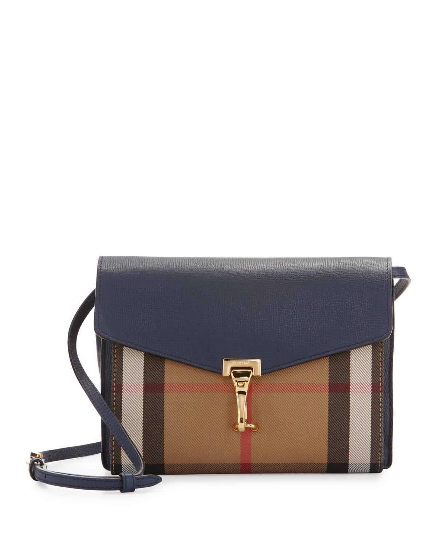 Burberry Macken Small Leather   House Check Crossbody Bag ae6ae0cde4b60