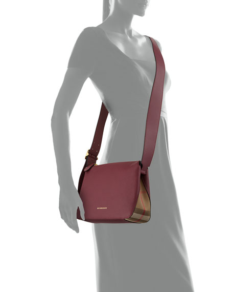 Helmsley Small Leather & House Check Crossbody Bag, Dark Plum