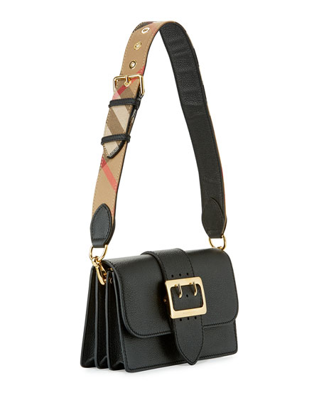 Buckle Small Leather Shoulder Bag, Black