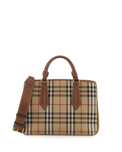 Burberry Ballingdon Medium House Check Tote Bag, Honey Tan 84f5252ece