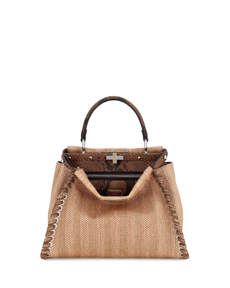 Fendi Peekaboo Medium Straw & Python Whipstitch Satchel