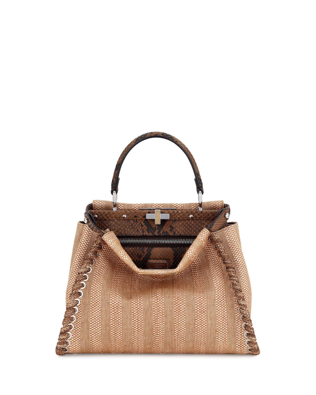 Fendi Peekaboo Medium Straw   Python Whipstitch Satchel Bag, Natural ... 2f3f097def2