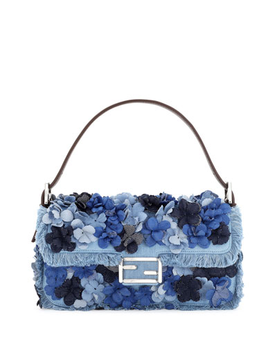 Baguette Denim Flowers Shoulder Bag  Denim