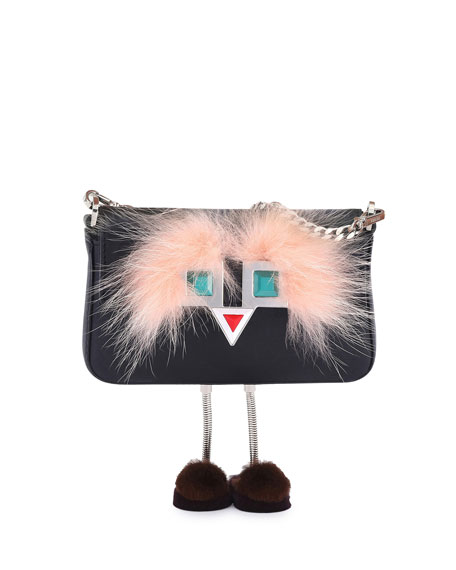 Fendi Baguette Micro Metal Eyes Bag w/Legs, Black