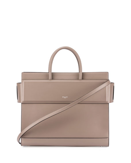 Horizon Medium Leather Tote Bag, Taupe Gray