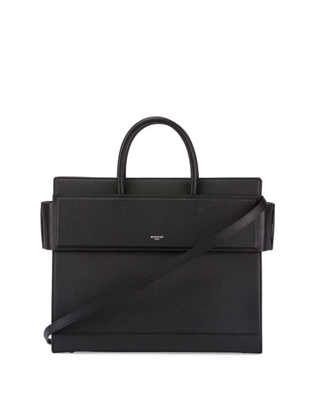 Horizon Medium Leather Tote Bag, Black