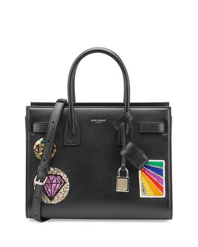Sac de Jour Baby Patches Satchel Bag, Black/Multi
