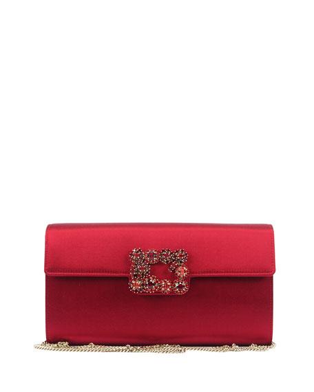 Floral Crystal-Buckle Clutch Bag, Red