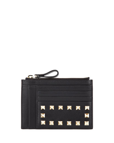 Rockstud Leather Coin/Card Case, Black (Nero)