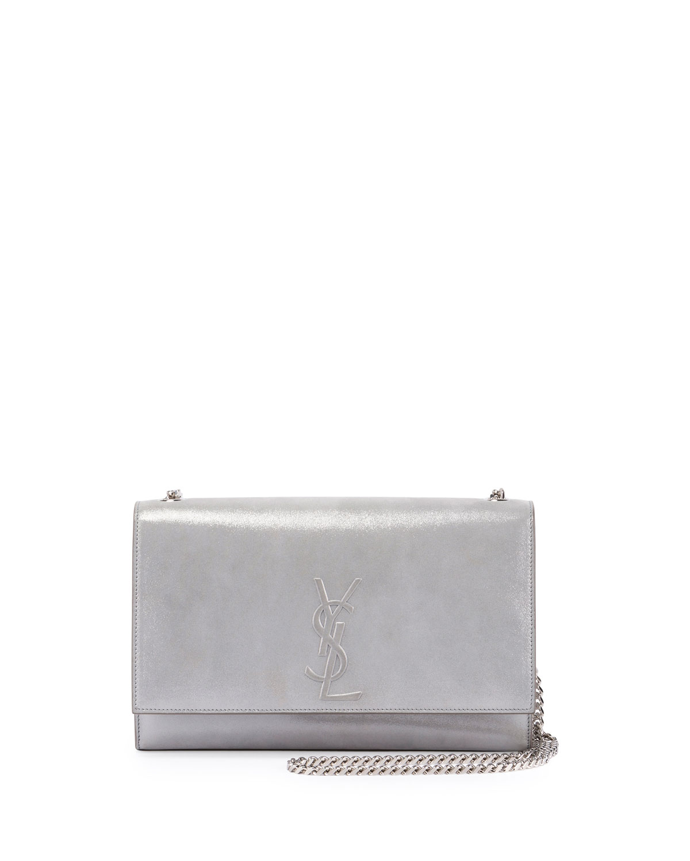 Saint Laurent Kate Monogram Medium Suede Chain Shoulder Bag, Silver ... 6be7c61cb1
