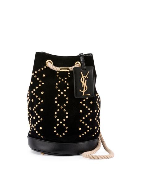 Seau Small Studded Bucket Bag, Black
