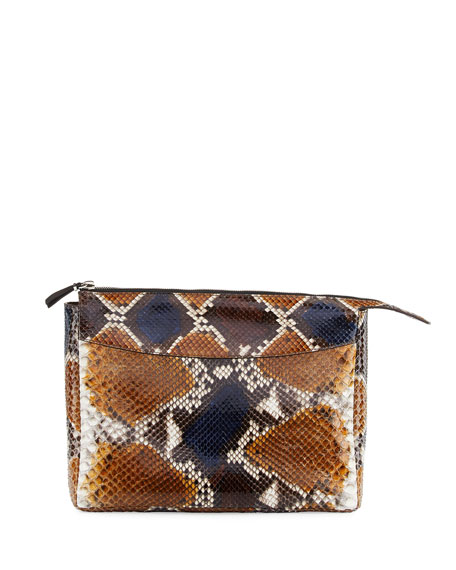 THE ROW Two-For-One 12 Python Pouch, Sahara/Navy
