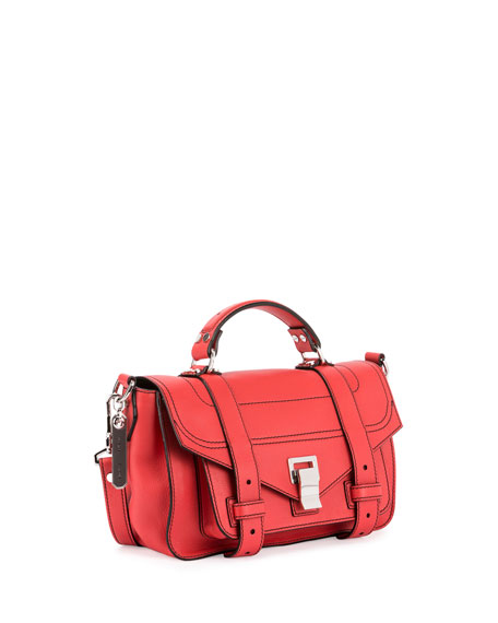 PS1+ Tiny Leather Satchel Bag, Geranium