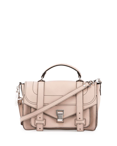 Proenza Schouler PS1+ Medium Leather Satchel Bag, Sand