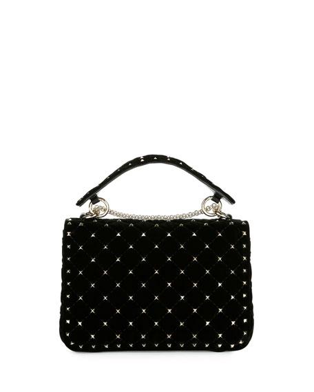 Rockstud Spike Velvet Medium Quilted Shoulder Bag, Black