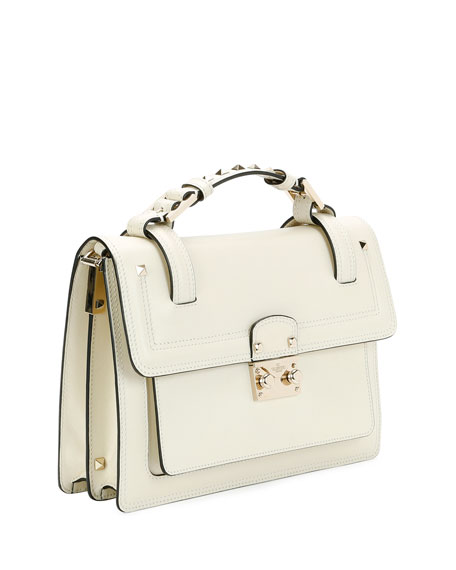 5e283250d2 Valentino Garavani Cabana Top-Handle Medium Leather Lock Shoulder Bag,  Light Ivory | Neiman Marcus