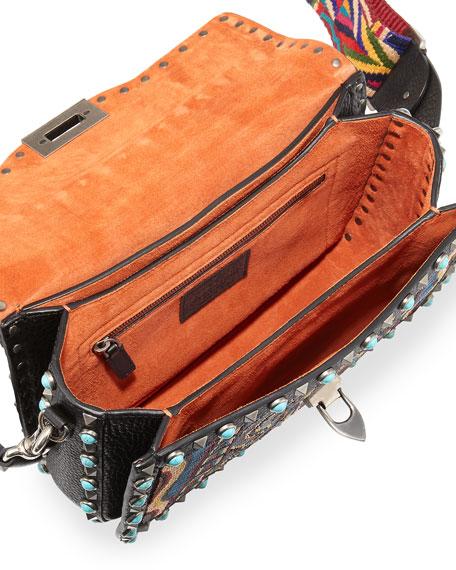 Rockstud Rolling Beaded Medium Shoulder Bag, Multi