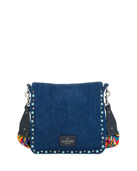 Rockstud Rolling Medium Flip-Lock Hobo Bag, Denim/Multi