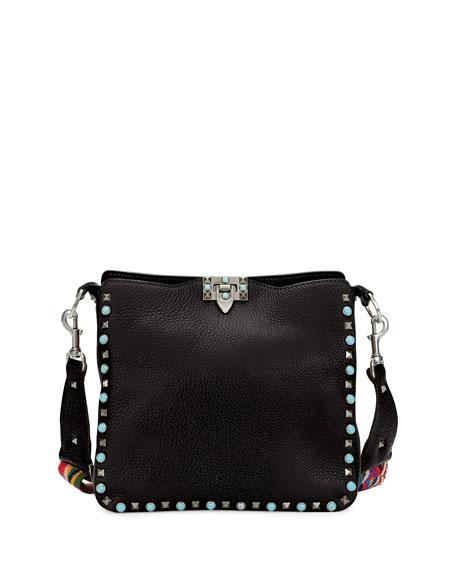 Valentino Rockstud Rolling Small Flip-Lock Hobo Bag, Black